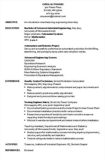 Industrial Engineer Resume Sample - industrial engineering resume
