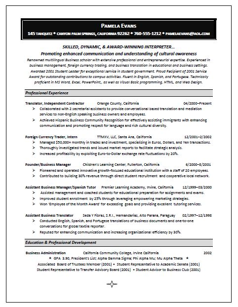 Winning Interpreter Resume Sample - Winning Resume Sample