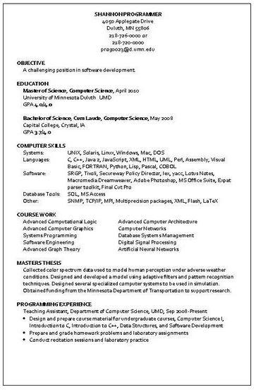sample resume programmer developer