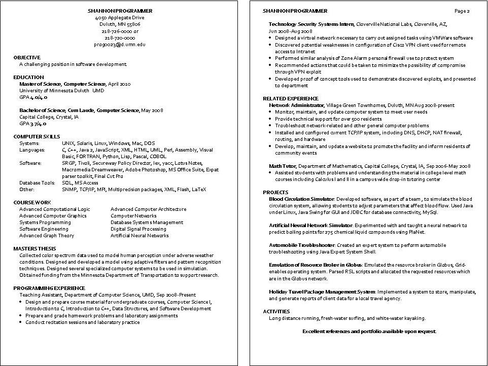 sample resume programmer analyst position