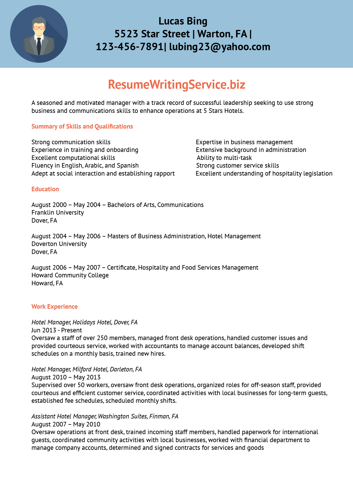 resume sample for order management
