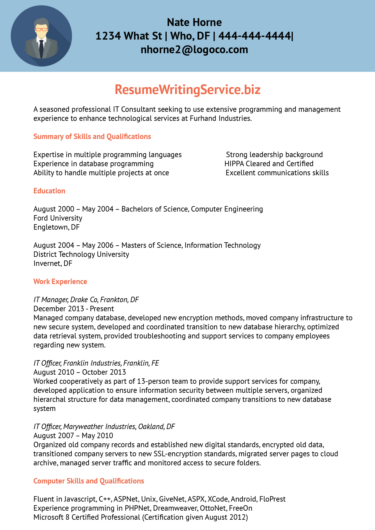information technology cv sample