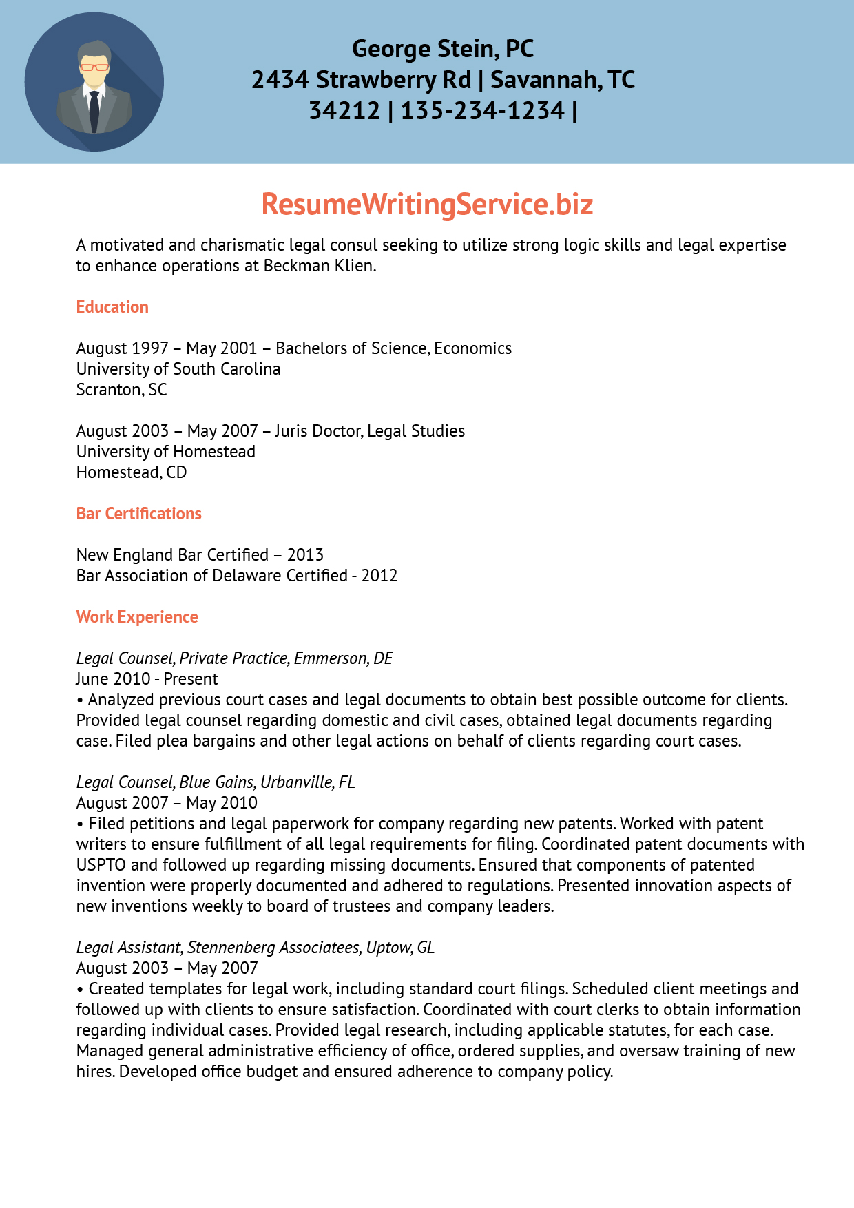 resume writing services experience