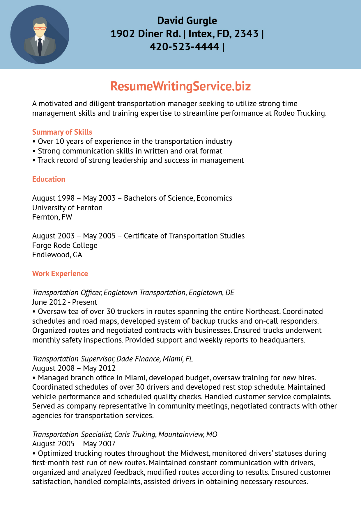 resume examples for transportation - frizzigame - Transportation Resume Examples