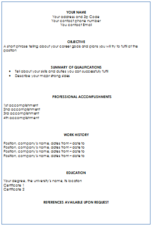 standard resume font 0213