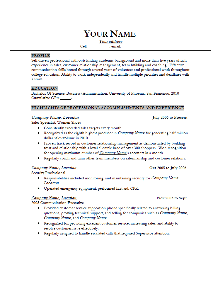 example resume 20 year old