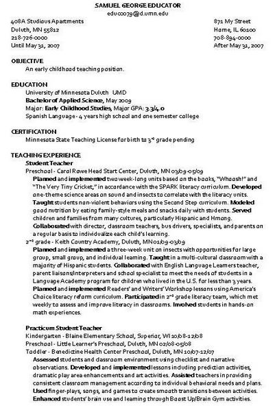 resume samples for child care assistant