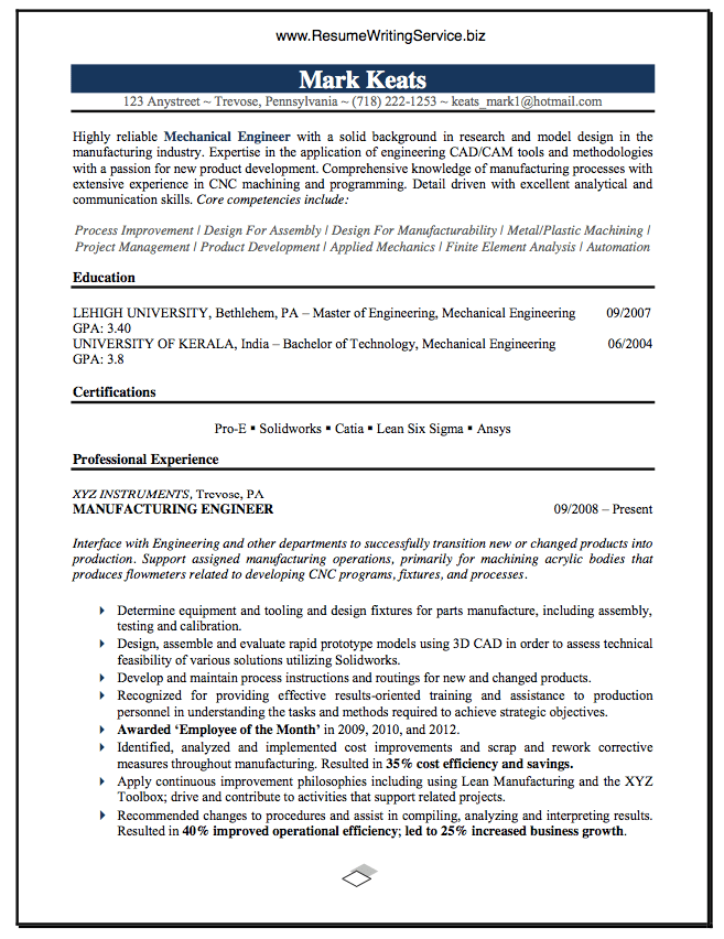 resume skills mechanical engineer