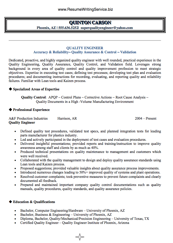 resume for quality control engineer