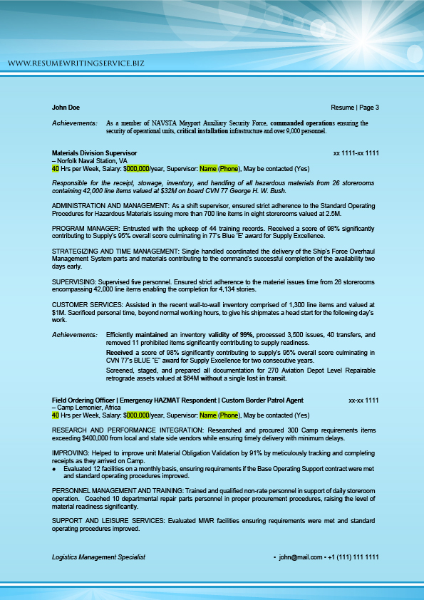 Logistics All-In-One Pack Sample - Logistics Readiness Officer Sample Resume