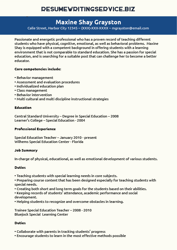 Special Education Teacher Resume Sample Special Education Teacher Resume Sample Resume Writing