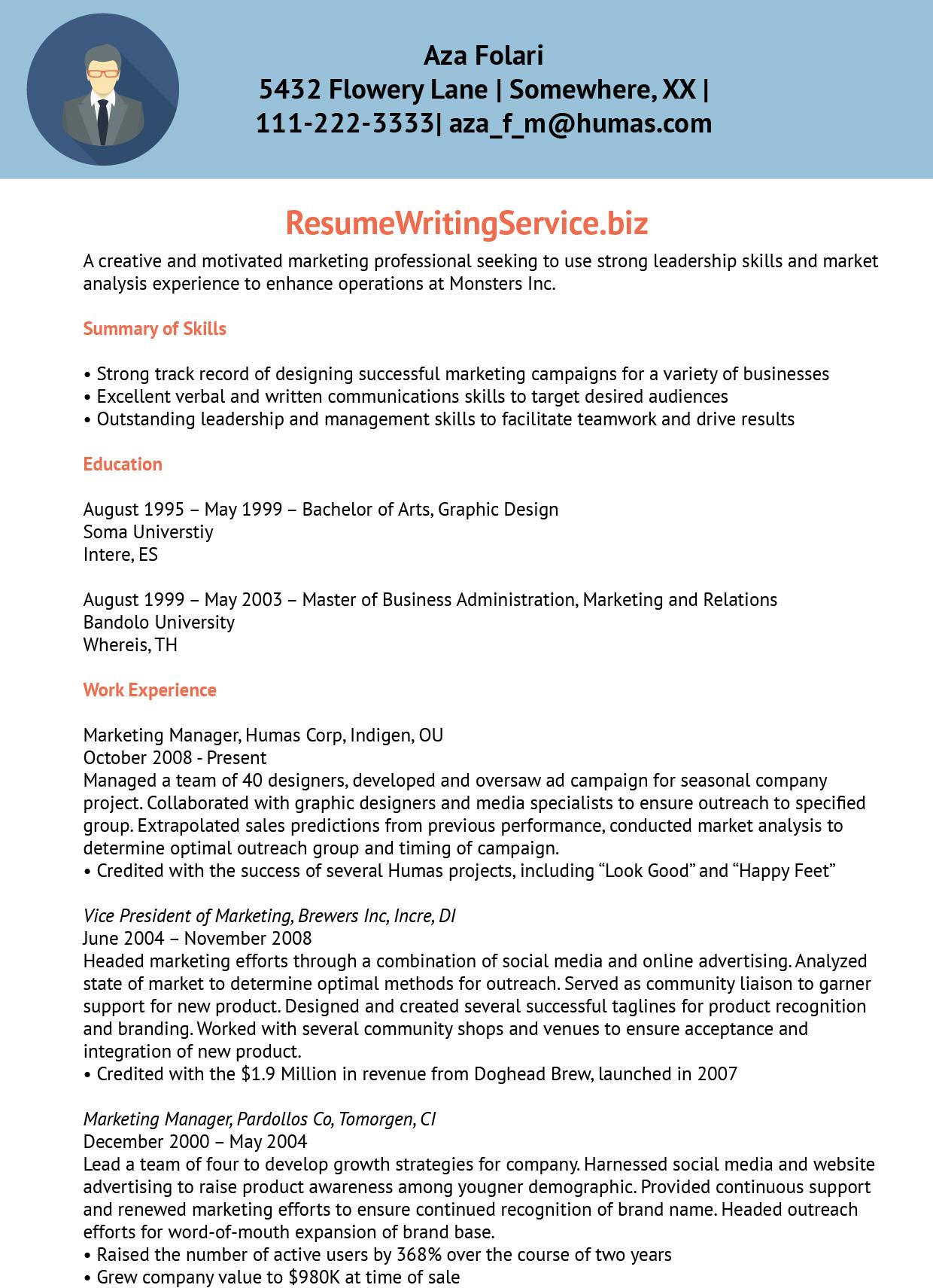 music marketing resume sample