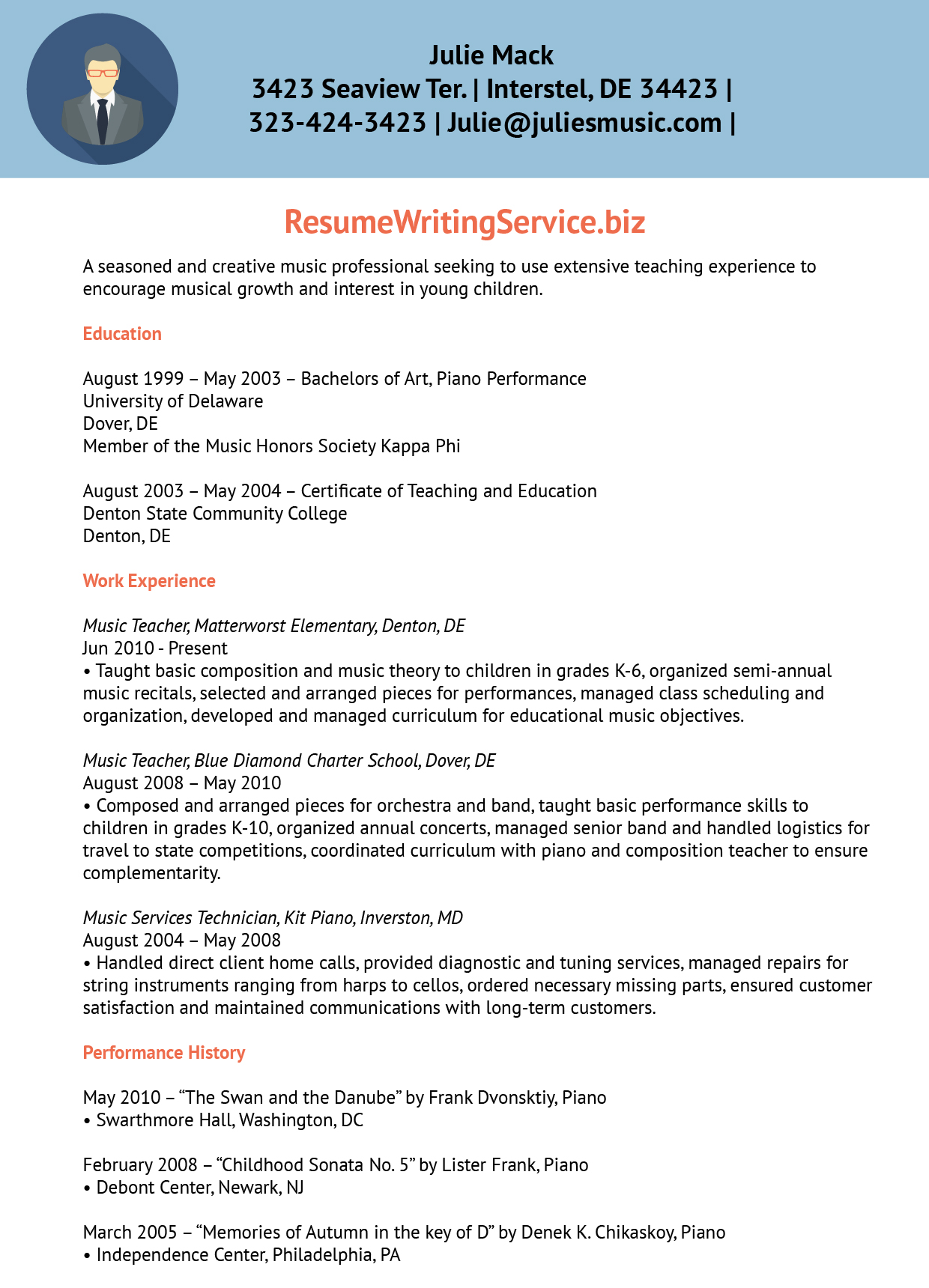 resume work experience sample teacher
