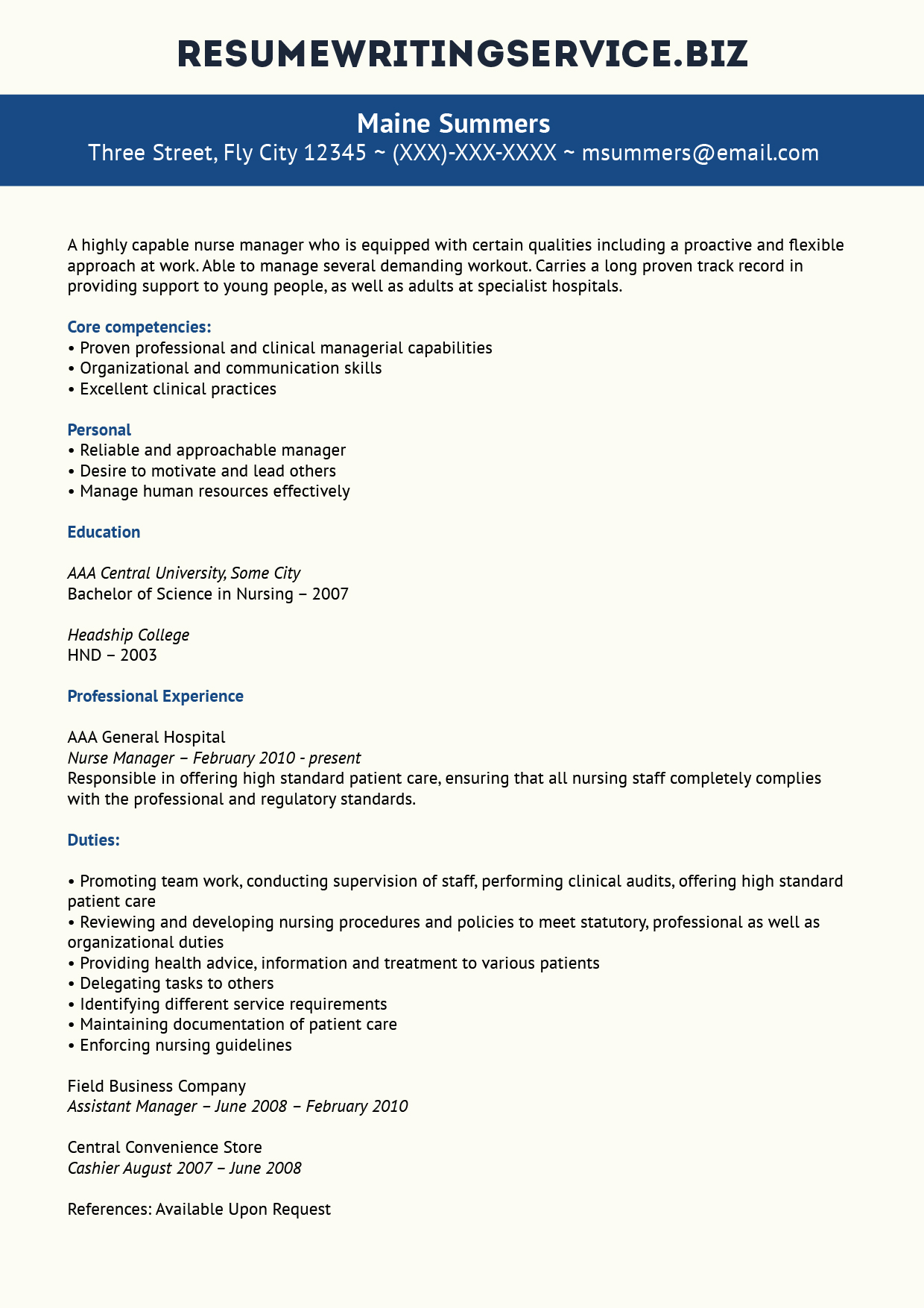 assistant nurse manager resumes