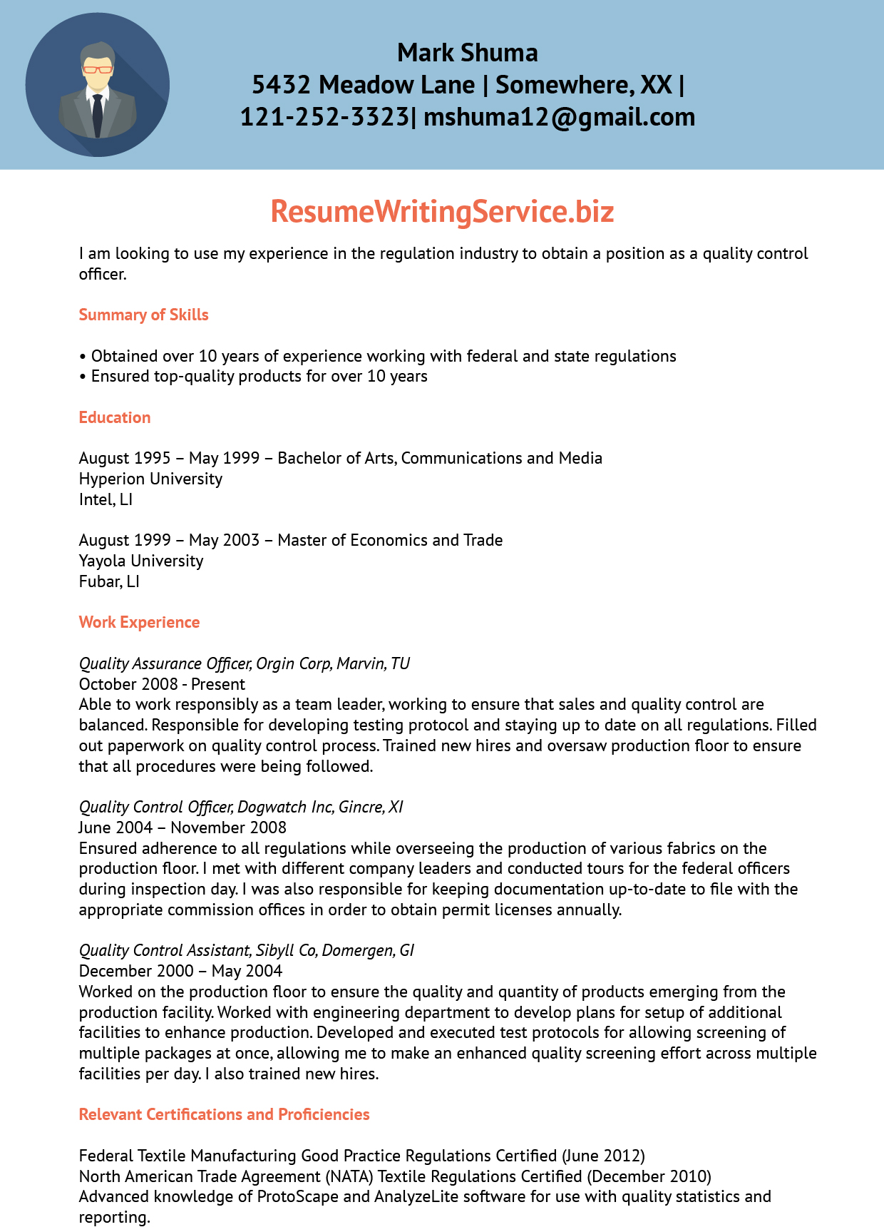 resume quality control manager