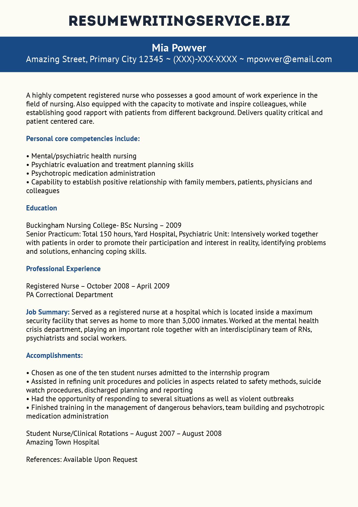 professional registered nurse resume