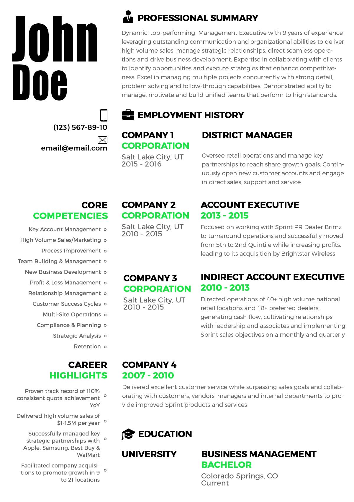 sample resume john doe