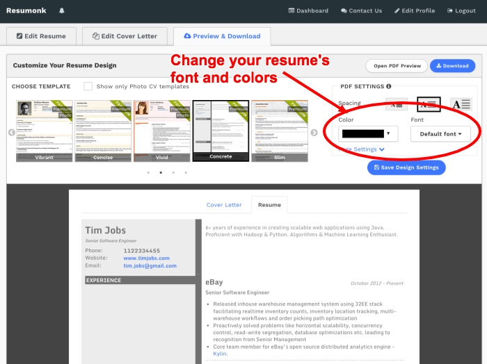Change resume font and text color