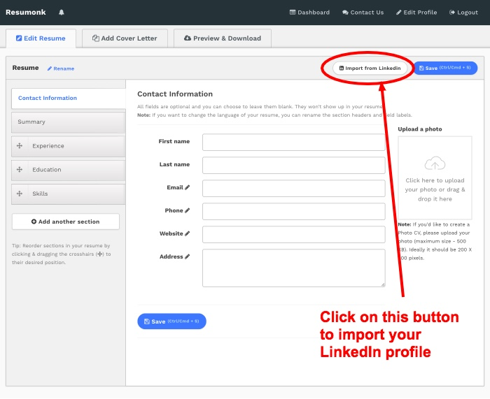 convert linkedin profile to cv
