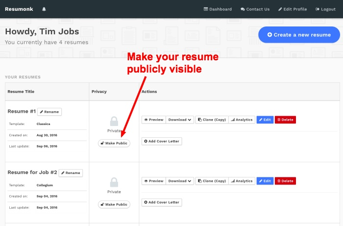 How to make your resume (CV) public or private - Search our