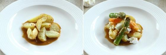 asamblare salata de cartofi noi cu sparanghel si branza de capra