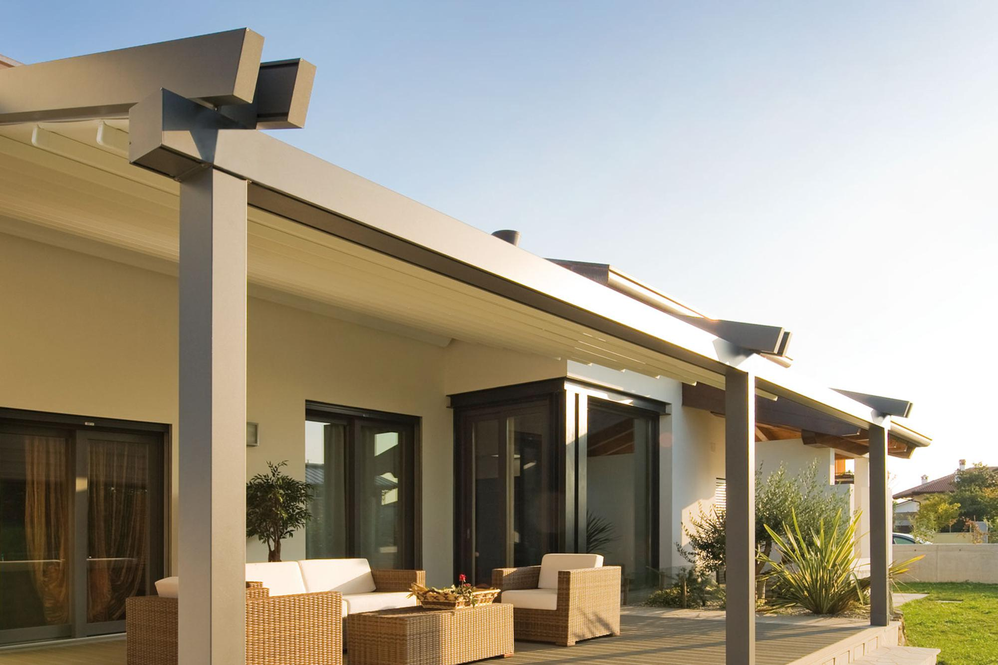 The Ferrara Attached Patio Cover System Motorized Awnings