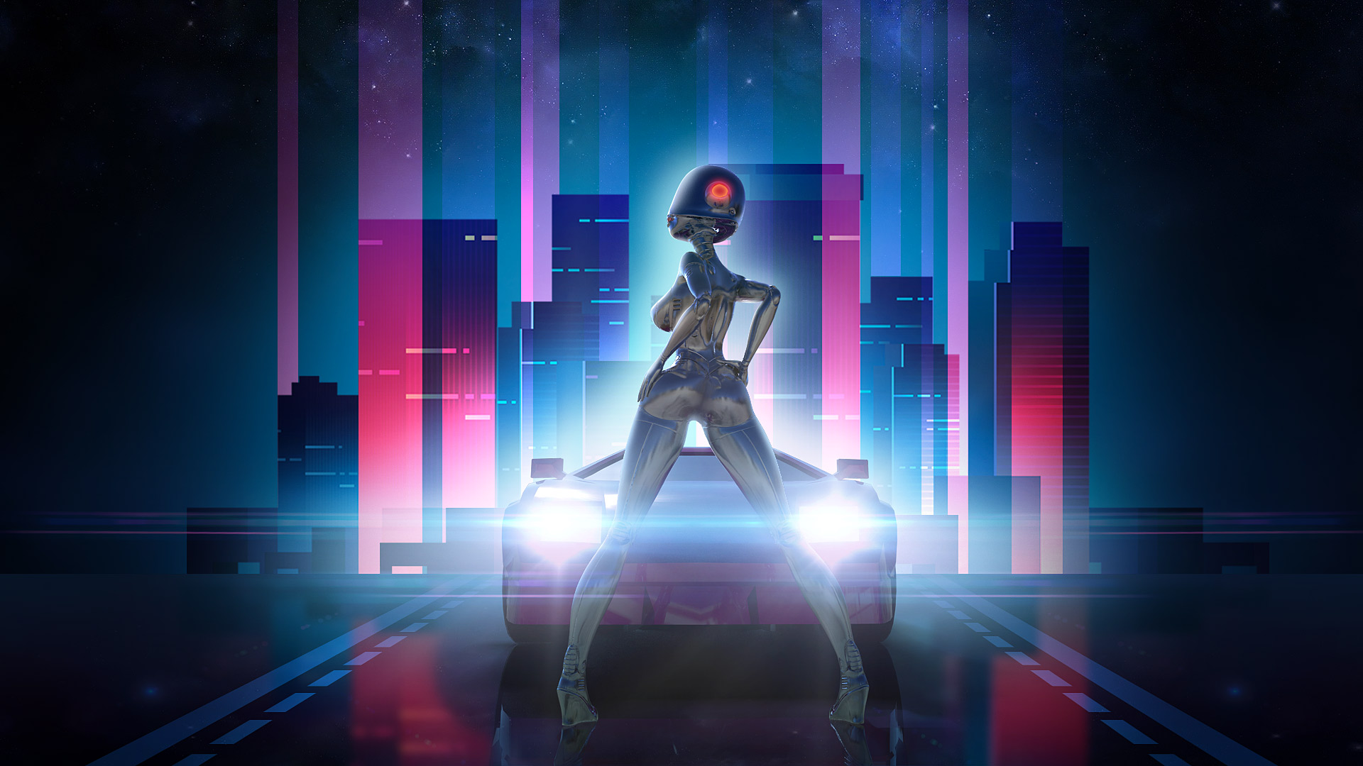 Chill Wave Car Wallpaper Neon Drive Retro Synthwave