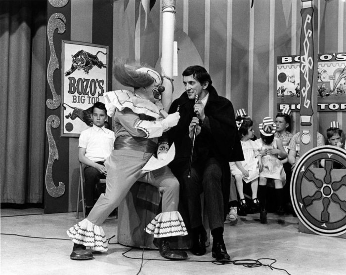 Jonathan Frid dressed as Barnabas Collins on the Bozo the Clown show.