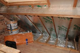 Insulation into eaves.
