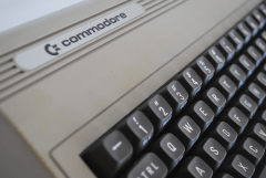 Commodore 64 'silver label' closeup