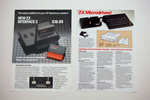 ZX Interface 2 and ZX Microdrive brochures