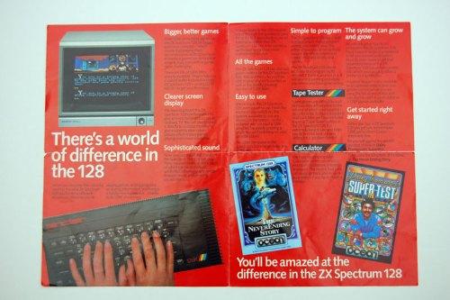 The Sinclair Spectrum 128 brochure opened