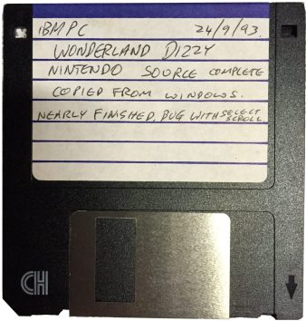 The rediscovered disk containing the source data for Wonderland Dizzy