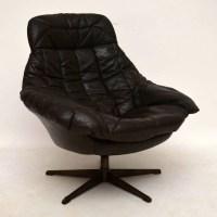 Danish Retro Leather Swivel Armchair by Bramin Vintage ...