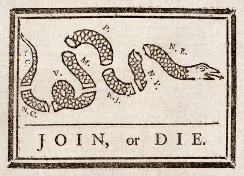 first political cartoon join or die by Benjamin Franklin