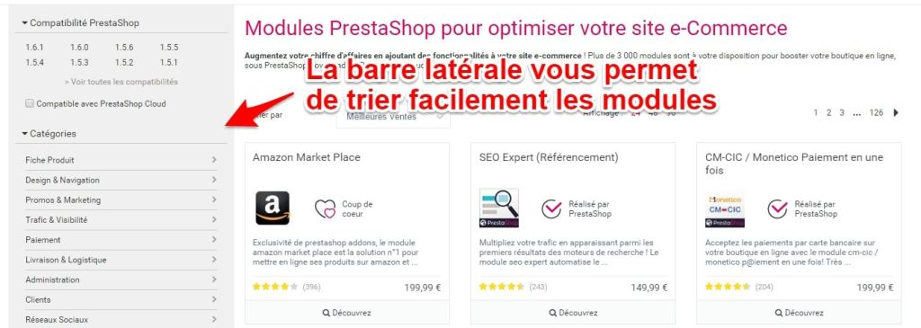 Trier les modules prestashop