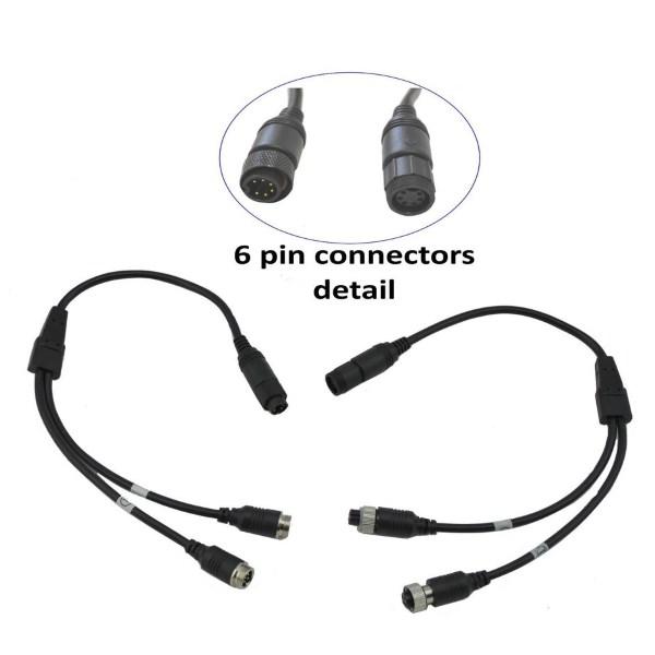 Twin lens adaptor for 6 pin connectors - Reversing Cameras UK