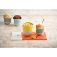 Colorful porcelain coffee and tea cup Color lab