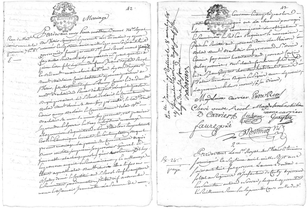 1768 - Marriage contract between Pierre REVOL and Madeleine CARRIER