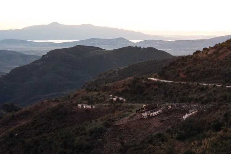 Looking west, from the hills above Sarandë. The outline in the distance is Corfu.