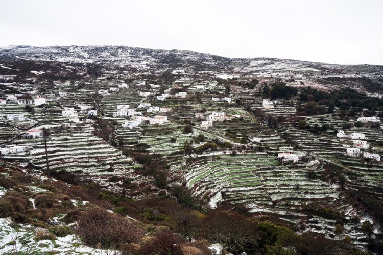 Terraces around a mountain village, after a light snowfall.