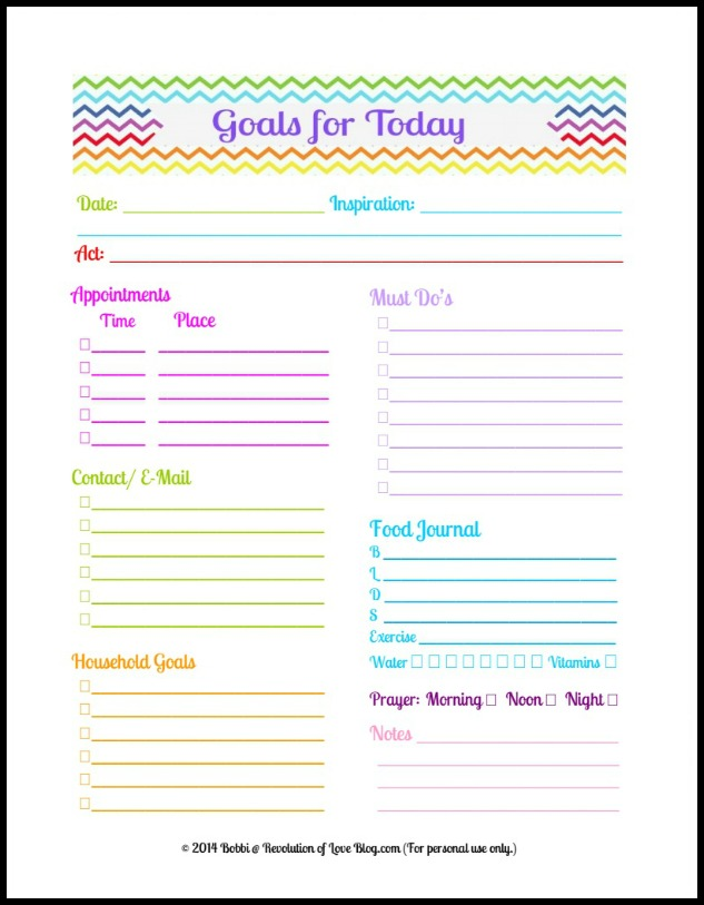 Pinterest Party  Link-up (vol 28) Daily Planner Goal Sheet (Free