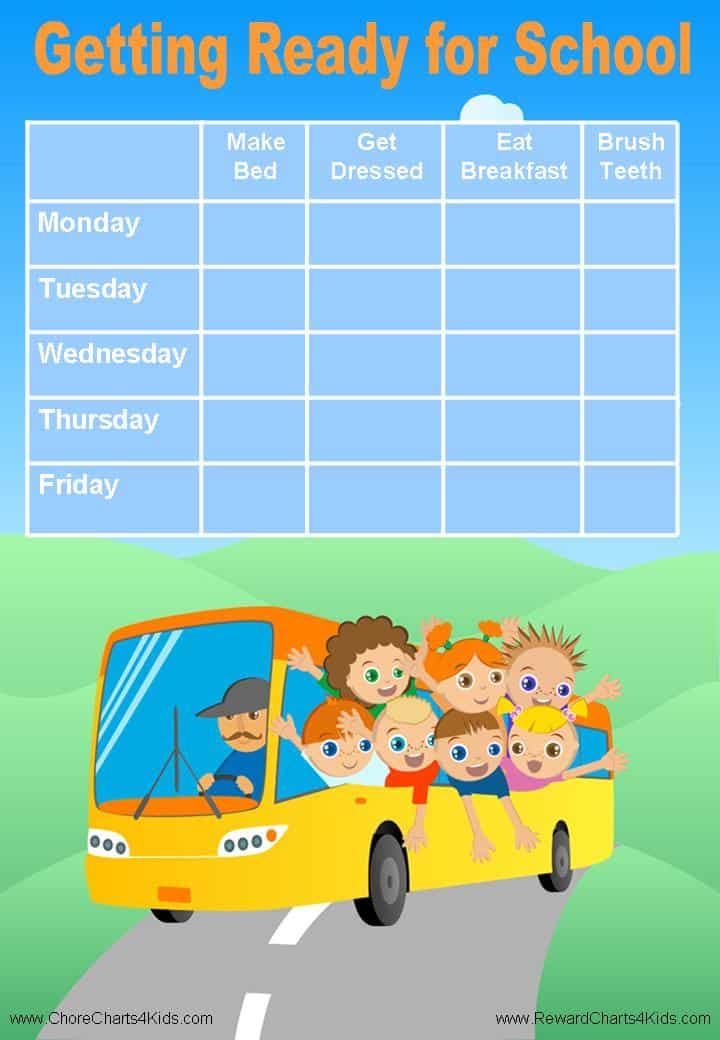 Free Custom Morning Routine Chart Customizable and Printable