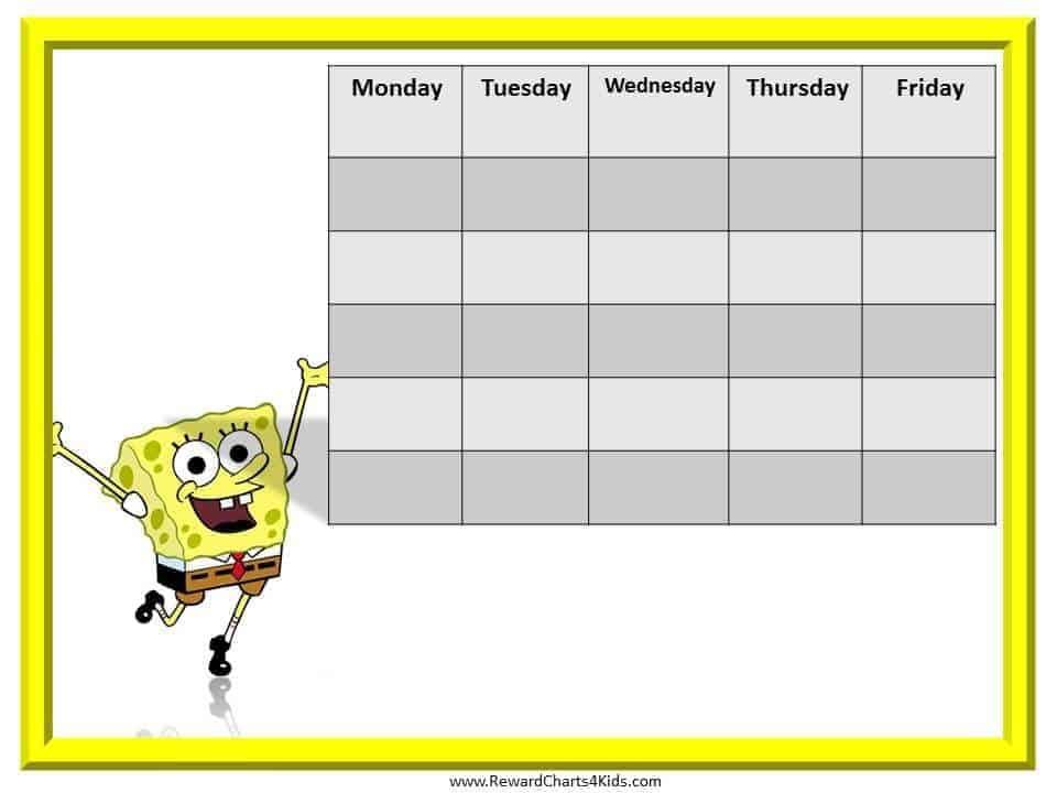 SpongeBob Reward Chart