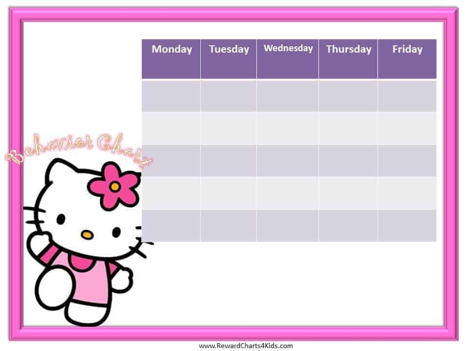 Hello Kitty Behavior Chart - printable behavior chart