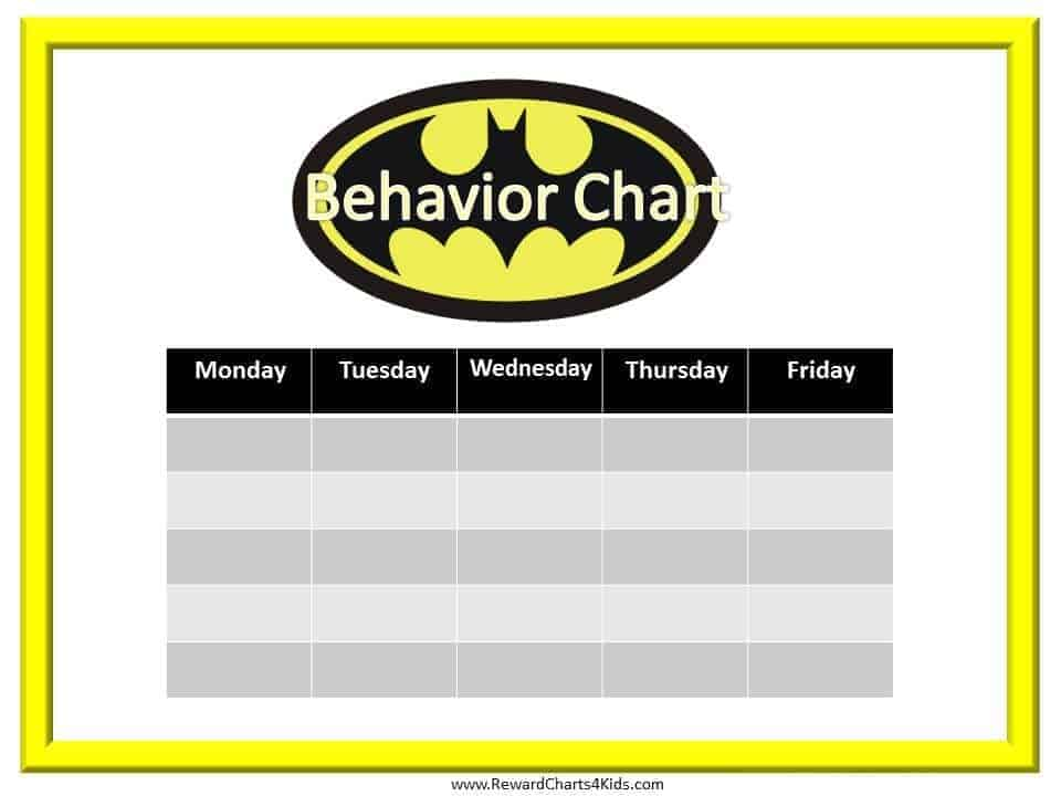 Batman Behavior Charts - printable behavior chart