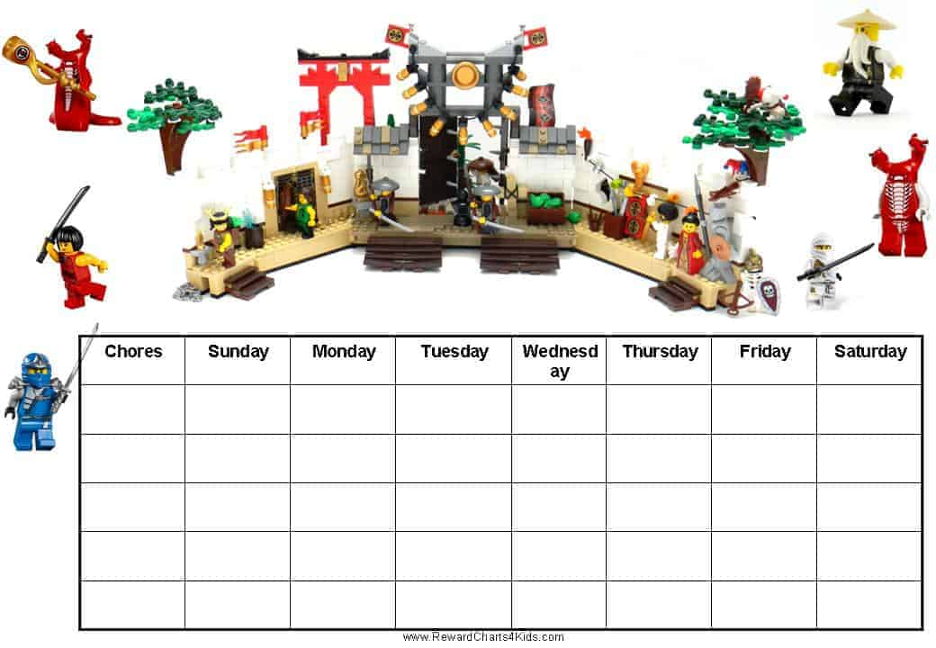Free Printable Chore Charts with Ninjago