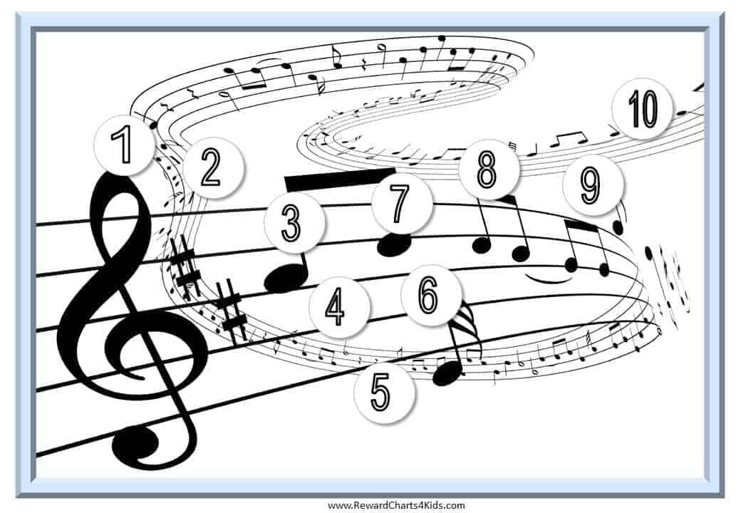 Sticker Charts with a Music Theme - music chart