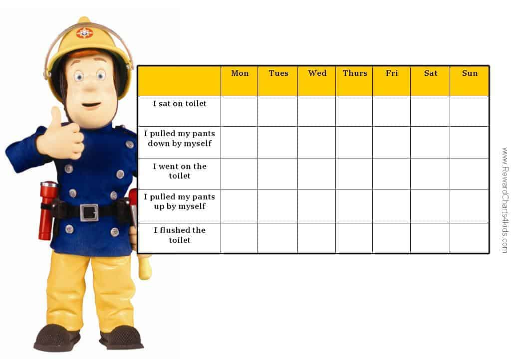 Fireman Sam Charts - potty traing chart