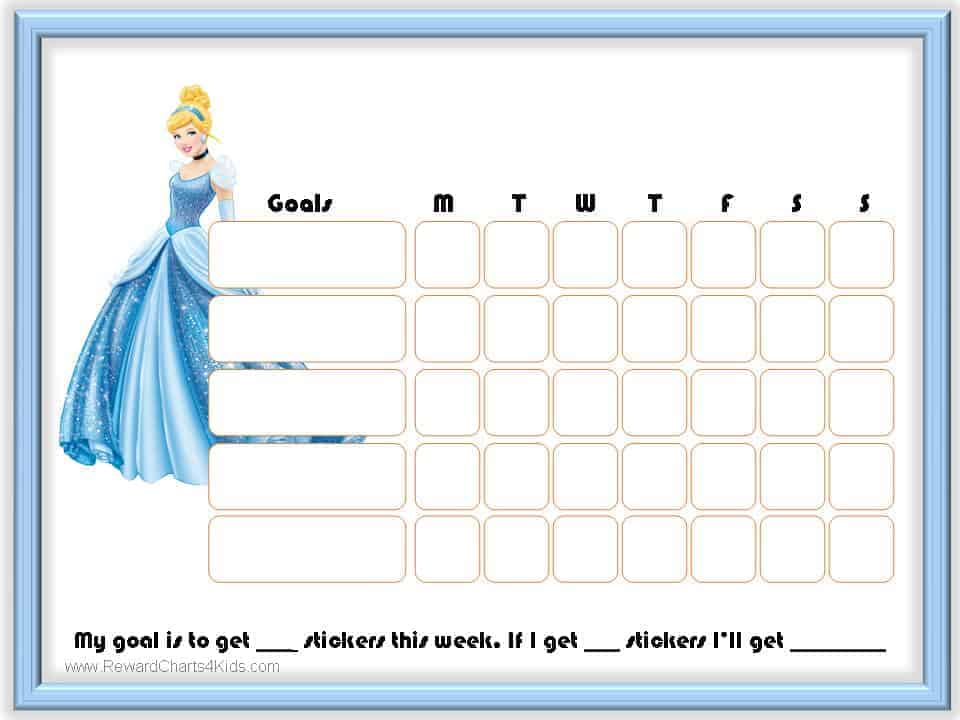 Free Printable  Editable Cinderella Charts Instant Download - Kids Behavior Chart Template
